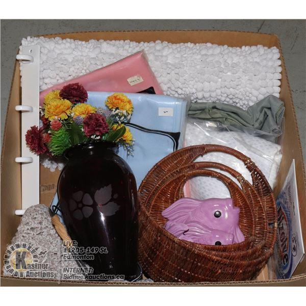 BOX W/ HOUSEHOLD ITEMS INCL. PLUSH FLOOR CARPET, SHOWER CURTAIN, LAUNDRY PRODUCTS, HANGER 6-HOOK, GL