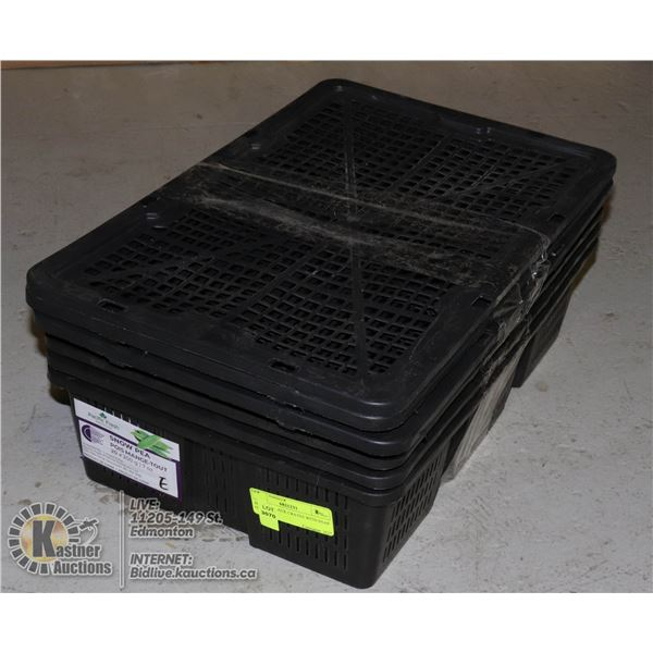 SET OF 4 BLACK CRATES WITH SNAP ON LIDS 18 X 12 X 5 INCHES