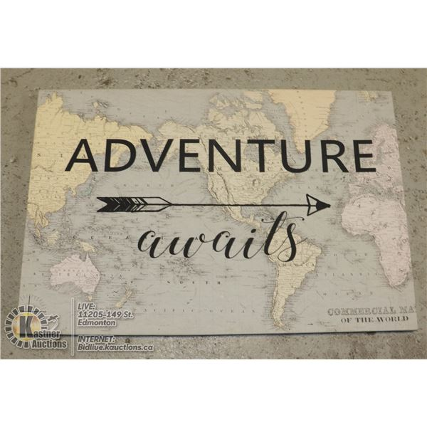 """LARGE CANVAS COMMERCIAL MAP OF THE WORLD - 36""""L X 24""""H WITH """"ADVENTURE WAITS"""" SLOGAN"""