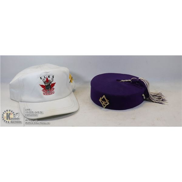 PAIR OF VINTAGE HIS AND HERS ELKS CANADA HAT WOMENS HAT MADE BY UNITED HATTERS CAP, COMPLETE WITH EL