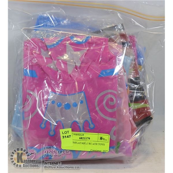 LOT OF INFLATABLE BEACH TOYS VARIOUS COLORS AND STYLES