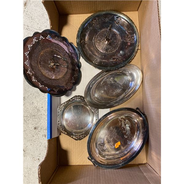 BOX OF SILVER PLATE TRAYS AND BOWLS