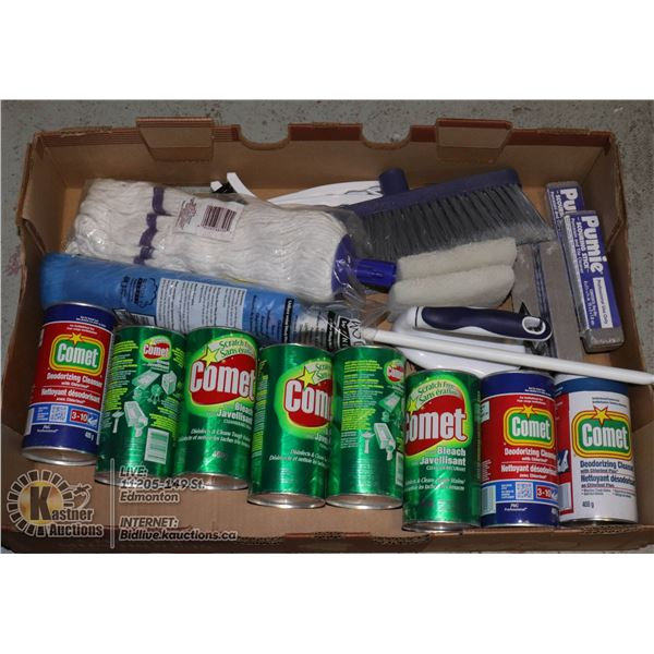 LARGE FLAT WITH NEW PROFESSIONAL CLEANING SUPPLIES INCL. 8X TINS OF COMET DISINFECTANT CLEANSER, 4X