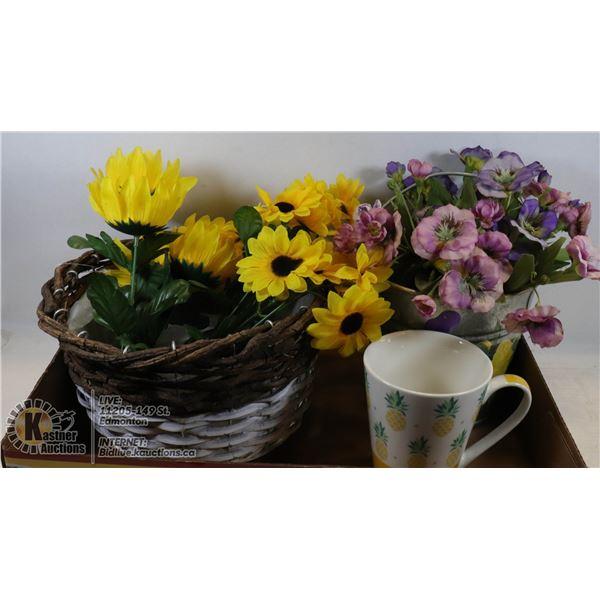 HANDPAINTED PAIL OF PANSIES,WICKER BASKET/FLOWERS
