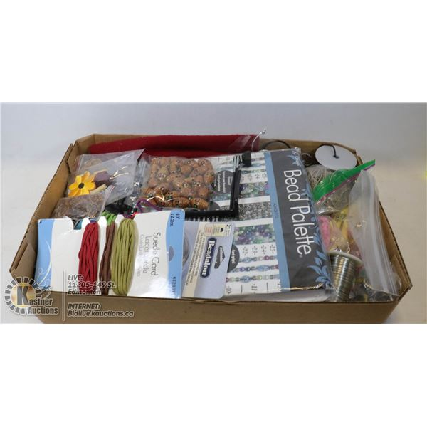 FLAT OF CRAFTING SUPPLIES. SUEDE CORD, BEADS, FABRIC, TOOLS ETC