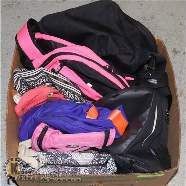 LARGE BOX OF BACKPACKS, TRAVEL BAGS, SPORTS BAGS, ETC.