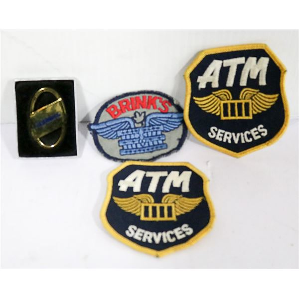 LOT OF BRINK'S BRASS KEYCHAIN AND 3 ARM PATCHES BRASS KEYCHAIN, 3 ARM PATCHES