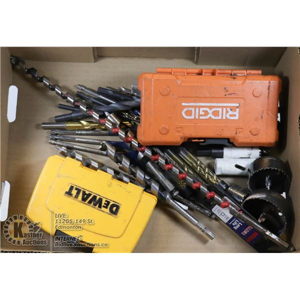 FLAT WITH COLLECTION OF VARIOUS TYPES OF DRILL BITS INCLUDING NEW PACKS AND SPECIALTY BITS