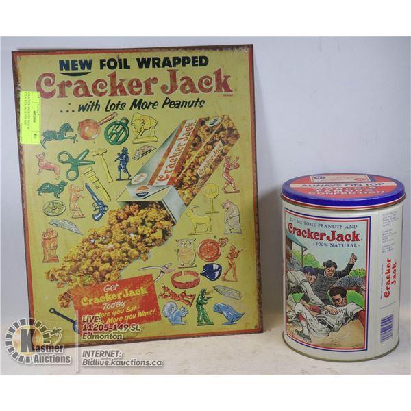 CRACKER JACK TIN SIGN & CRACKER JACK TIN JAR