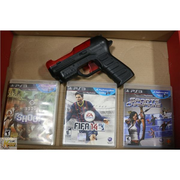 PLAYSTATION 3 LIGHT GUN MOVE + 3 MOVE MOTION GAMES