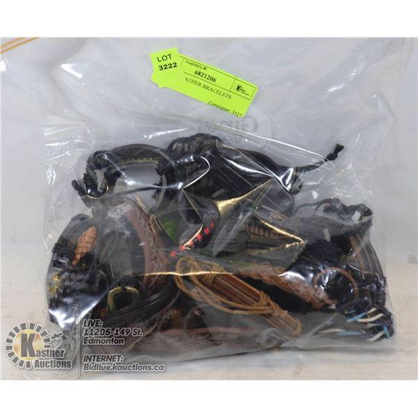 BAG OF LEATHER BRACELETS 32 BRACELETS IN TOTAL