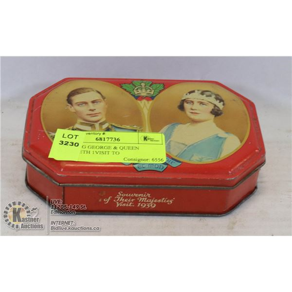 1939 KING GEORGE & QUEEN ELIZABETH 1VISIT TO CANADA, PLATE AND SWEETS TIN