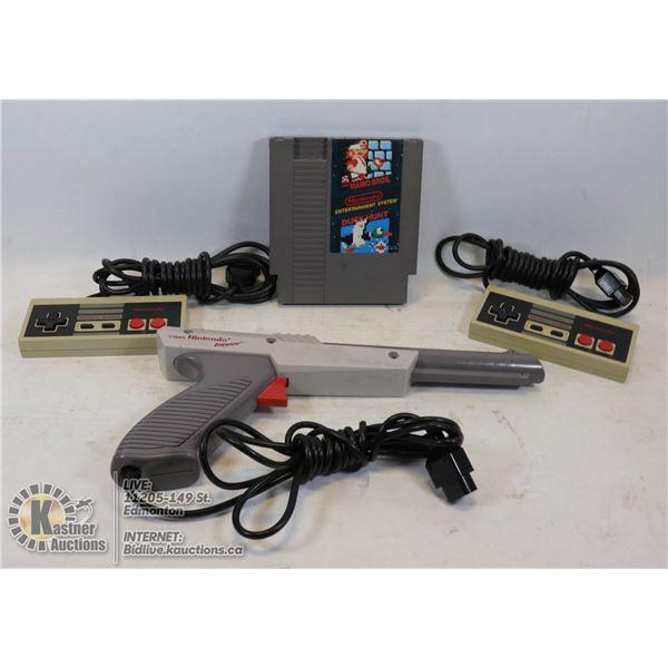 NINTENDO NES SUPER MARIO BROS / DUCK HUNT TWO NES CONTROLLERS AND ZAPPER