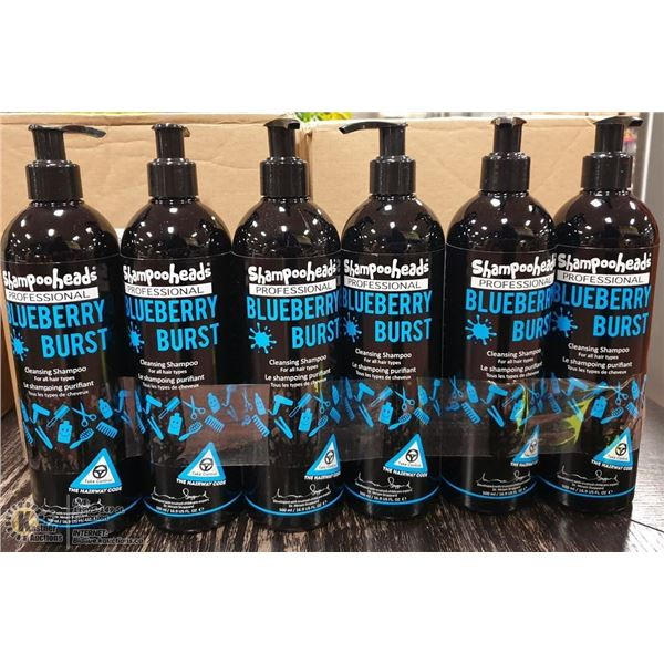 LOT OF 6 SHAMPOOHEADS PROFESSIONAL BLUEBERRY BURST CLEANSING SHAMPOO 500 ML, MADE IN THE UK