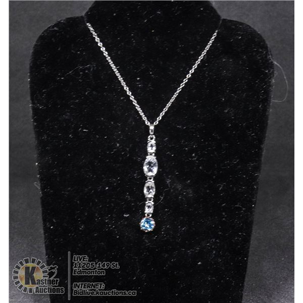 """#113-TOPAZ PENDANT & NECKLACE 18"""" JEWELRY/ .925 STERLING SILVER"""