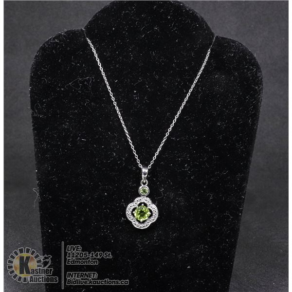 """#133-GREEN PERIDOT PENDANT & NECKLACE 18"""" JEWELRY/  .925 STERLING SILVER"""