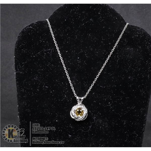 """#138-CITRINE PENDANT & NECKLACE 18"""" JEWELRY/  .925 STERLING SILVER"""