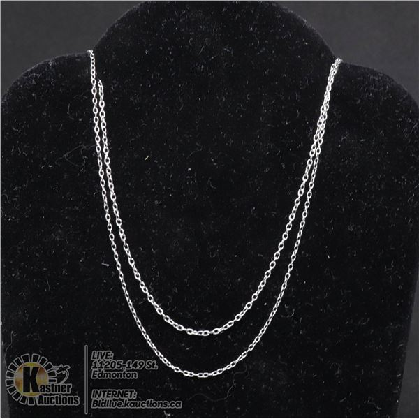 """#131-STERLING SILVER NECKLACE 18""""/2 PCS JEWELRY/  .925 STERLING SILVER"""