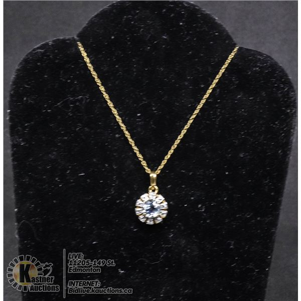 """#117-BLUE TOPAZ PENDANT & NECKLACE 18"""" JEWELRY/  .925 STERLING SILVER/ GOLD PLATED"""