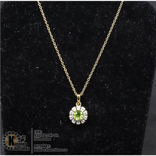 """#122-GREEN PERIDOT PENDANT & NECKLACE 18"""" JEWELRY/  .925 STERLING SILVER/ GOLD PLATED"""
