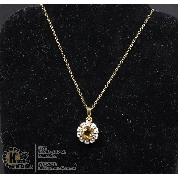 """#126-CITRINE PENDANT & NECKLACE 18"""" JEWELRY/  .925 STERLING SILVER/ GOLD PLATED"""