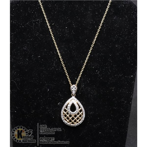"""#142-DIAMOND ACCENT PENDANT & NECKLACE 18"""" JEWELRY/  .925 STERLING SILVER/ GOLD PLATED"""