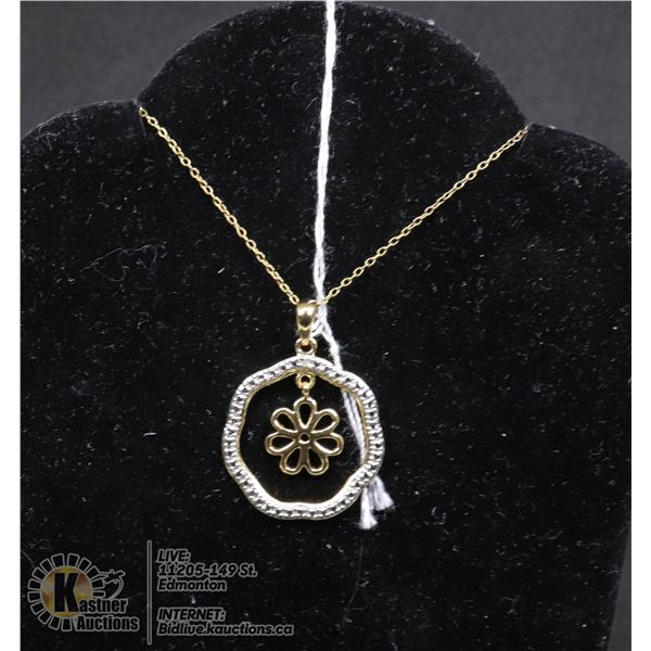 """#146-DIAMOND ACCENT PENDANT & NECKLACE 18"""" JEWELRY/  .925 STERLING SILVER/ GOLD PLATED"""