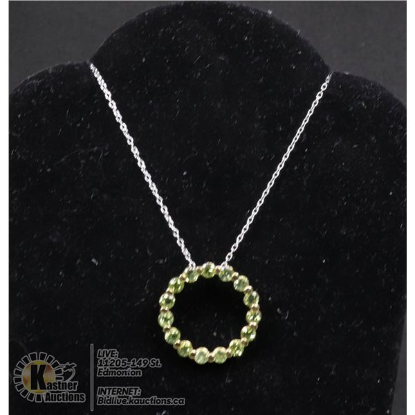 """#109-GREEN PERIDOT PENDANT & NECKLACE 18"""" JEWELRY/ .925 STERLING SILVER/ GOLD PLATED"""