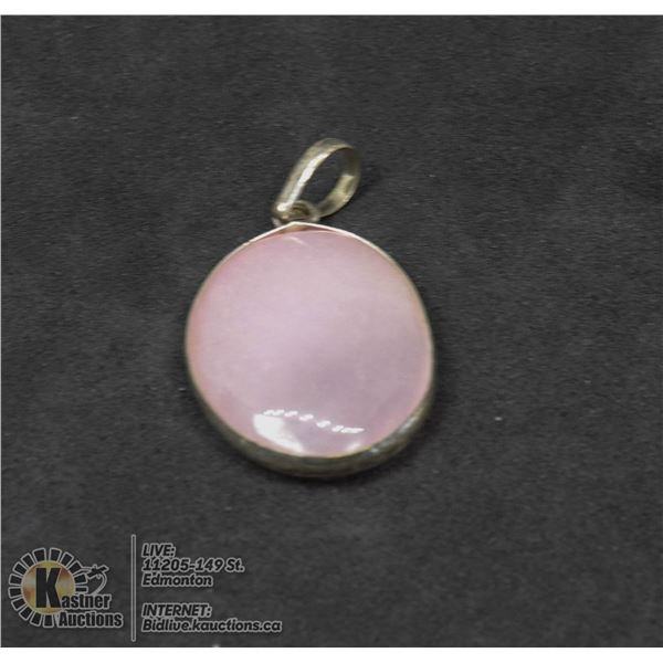 #58-NATURAL PINK ROSE QUARTZ PENDANT JEWELRY/ SILVER PLATED/ HEALING MINERAL