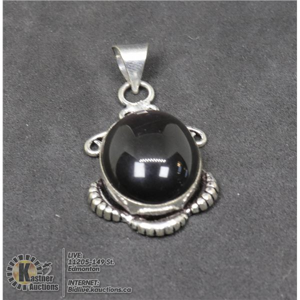 #79-NATURAL BLACK OBSIDIAN PENDANT JEWELRY/ SILVER PLATED/ HEALING MINERAL