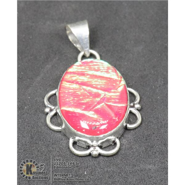 #91-TRIPLE OPAL PENDANT JEWELRY/ LAB CREATED/ SILVER PLATED