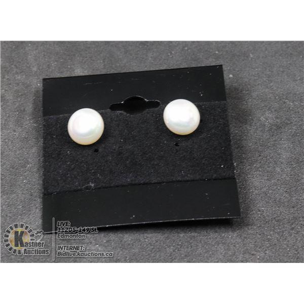 #98-FRESH WATER PEARL STUD EARRINGS 9 - 10 mm JEWELRY/ .925 STERLING SILVER