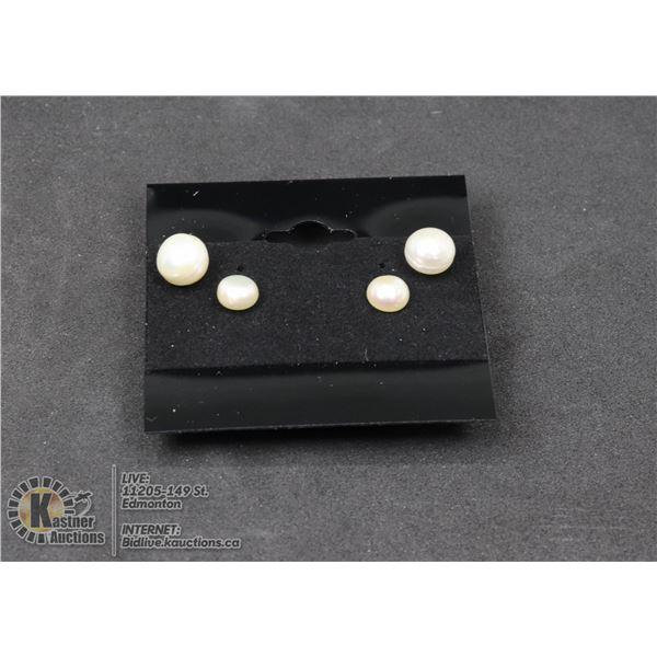 #102-FRESH WATER PEARL STUD EARRINGS 7.5mm-6.4mm JEWELRY/ .925 STERLING SILVER/ RUBBER BACK HOLDER