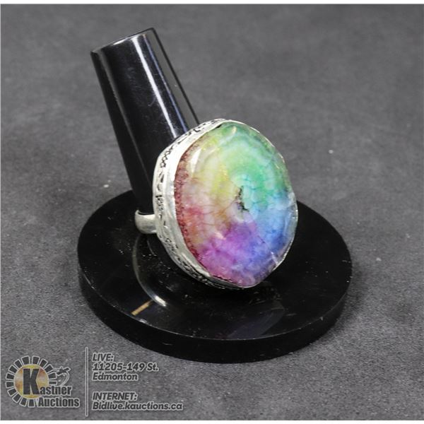 #55-NATURAL RAINBOW SOLAR QUARTZ RING SIZE 8 JEWELRY/ SILVER PLATED/ HEALING MINERAL