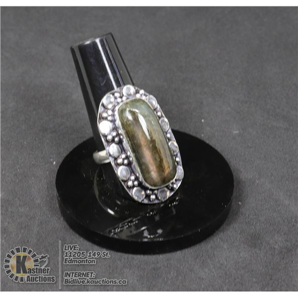 #1-NATURAL FIRE LABRADORITE RING SIZE 8 JEWELRY/ SILVER PLATED/ HEALING MINERAL