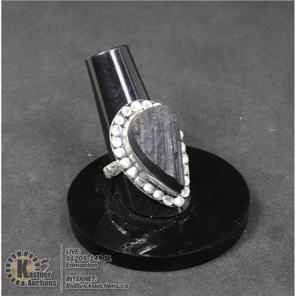 #5-NATURAL TOURMALINE RING (RAW) SIZE 8 JEWELRY/ SILVER PLATED/ HEALING MINERAL
