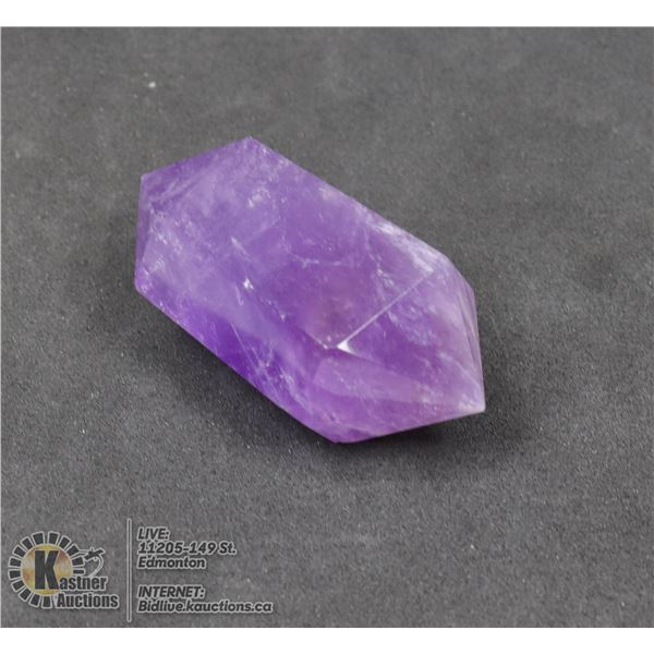 #267-NATURAL AMETHYST 2 POINT 26 x 52.3mm JEWELRY/ HEALING MINERAL/ 38.44g