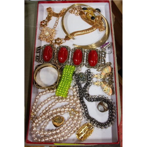 VINTAGE JEWELRY IN RED BOX