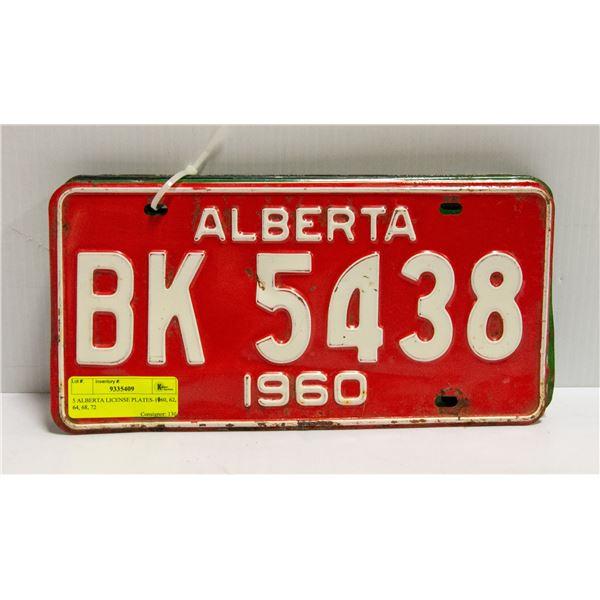 5 ALBERTA LICENSE PLATES-1960, 62, 64, 68, 72