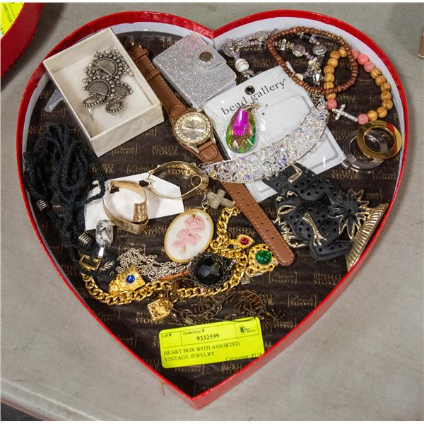 HEART BOX WITH ASSORTED VINTAGE JEWELRY