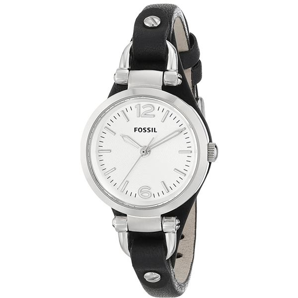 NEW FOSSIL 26MM WHITE DIAL BLACK LEATHER STRAP