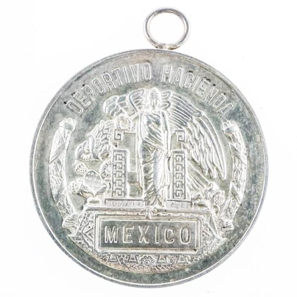MEXICO Silver Coin Pendant with Bezel