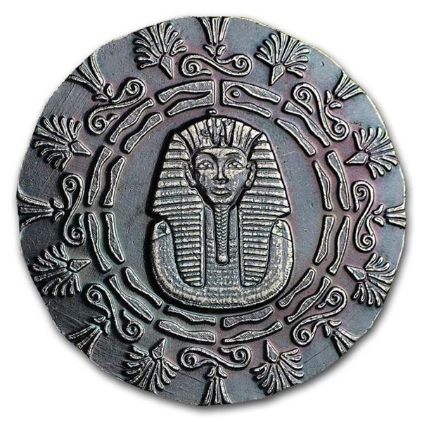 Fine Silver, Old World Style Egyptian King  Tut with Pyramid Round .999 Fine Silver  Antique Patina,