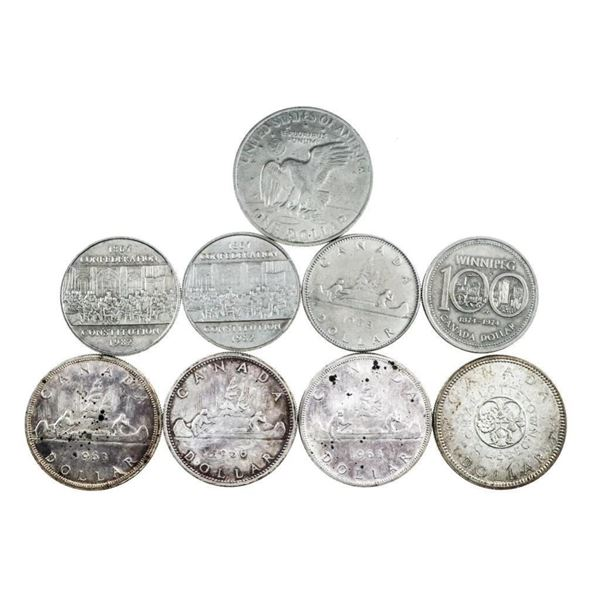 Bag - Mix Silver and Nickel Dollars 9 Total