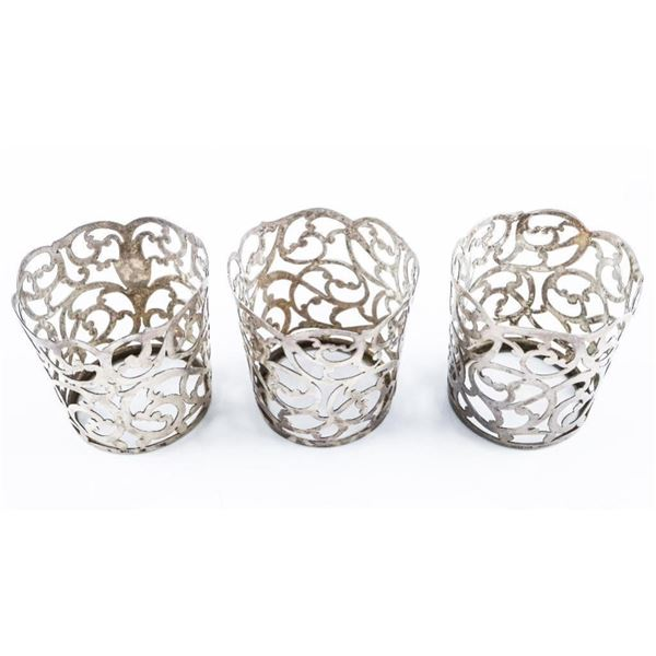 Estate 'Tiffany' Sterling Silver Set 3 Cup  Holders
