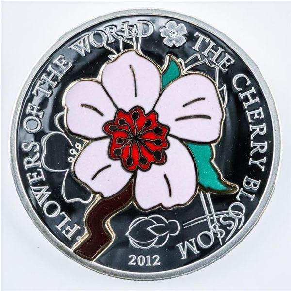 2012 Cherry Blossom .999 Fine Silver $5.00  Coin