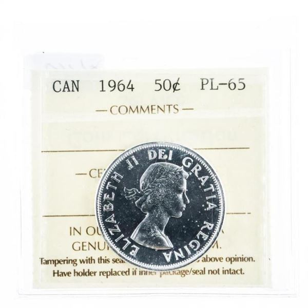 1964 Canada Silver 50 Cent PL65. ICCS