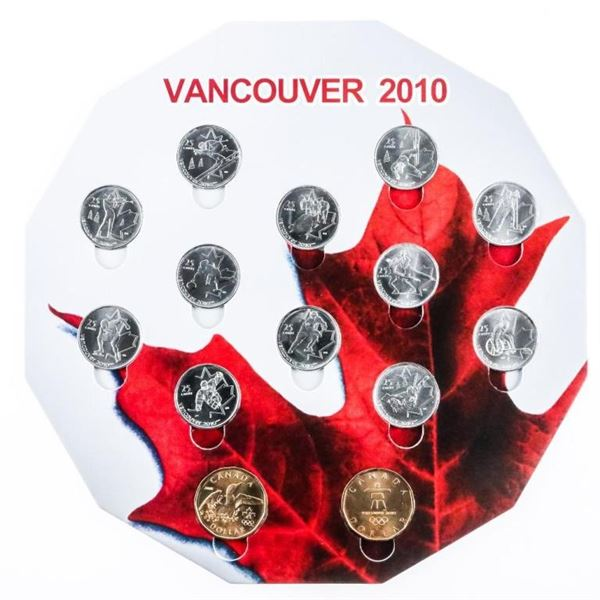 Vancouver 2010 Olympic Display of Coins on  Board 14 Coins (9b-me)