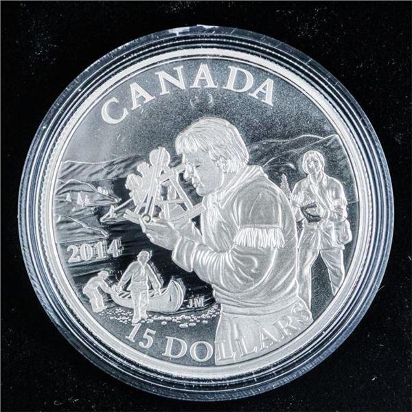 RCM 2014 Exploring Canada $15 .9999 Silver  Coin
