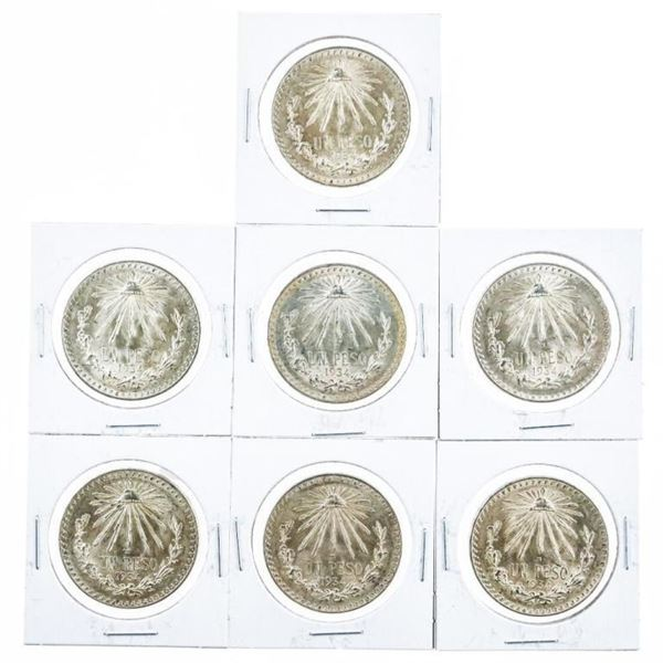 Lot (7) Mexico Estados 'UNIDOS' Mexicanos  Peso KM#455 2.699oz ASW
